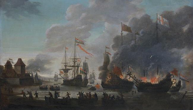 De Hollanders steken Engelse schepen in brand tijdens de tocht naar Chatham, 20 juni 1667